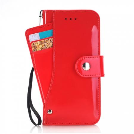Glossy PU Leather Wallet Stand Case with Multiple Card Slots for iPhone 8 Plus 5.5 inch - Red