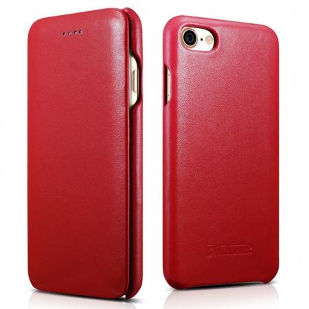 ICARER Curved Edge Luxury Series Genuine Cowhide Leather Case Cover For iPhone 8 - Red