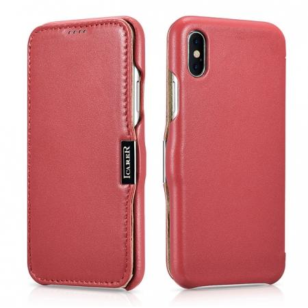 ICARER Luxury Magnet Genuine Leather Side-Open Flip Case For iPhone X - Red