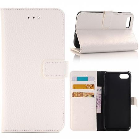 Litchi Grain PU Leather Flip Stand Case Cover with Card Slot for iPhone 8 Plus 5.5 inch - White