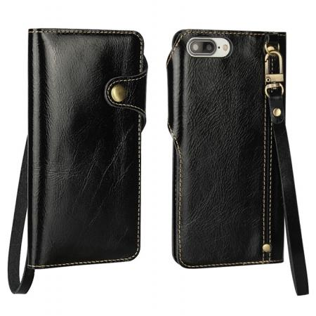 Luxury Genuine Cowhide Leather Wallet Credit Card Holder Case For iPhone 8 4.7 inch - Black