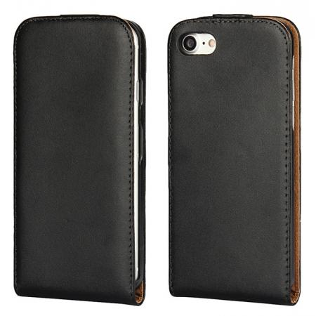 Luxury Genuine Real Leather Vertical Top Flip Case Cover for iPhone 8 4.7 inch - Black