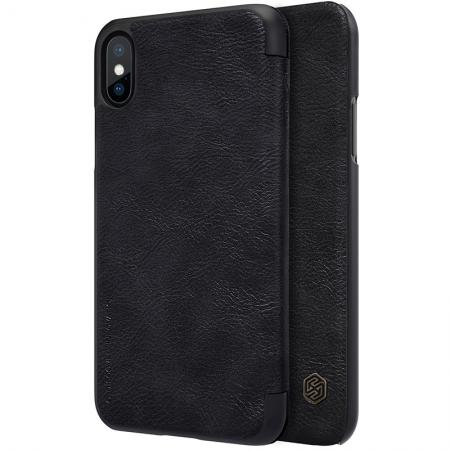 Nillkin Qin Series Flip Leather Card Slot Case Cover For iPhone X - Black