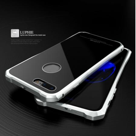 Original Luphie Tempered Glass Back Cover Metal Bumper Case for iPhone 8 4.7inch - Silver&Black