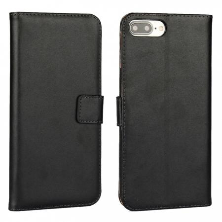 Real Genuine Leather Side Flip Wallet Case Cover for iPhone 8 4.7 inch - Black