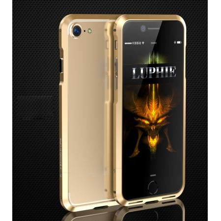 Shockproof Aluminum Metal Frame Bumper Case for Apple iPhone 8 - Gold