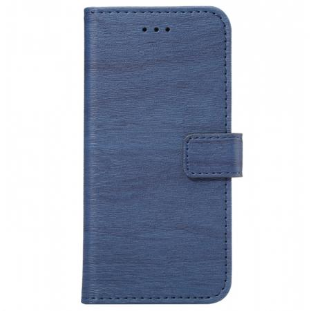 Wood Grain Pu Leather Flip Wallet Stand Case for iPhone 8 - Dark Blue