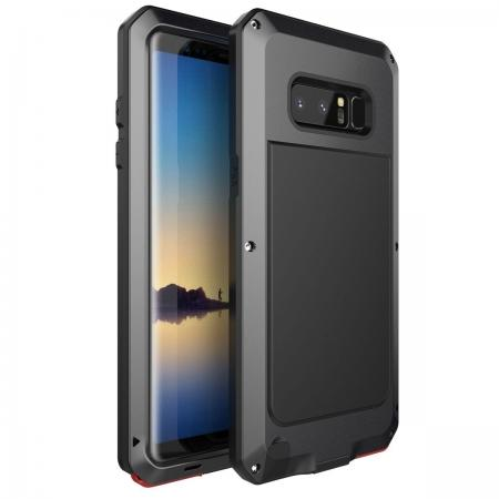 Aluminum Metal Shockproof Heavy Duty Cover Case for Samsung Galaxy Note 8 - Black