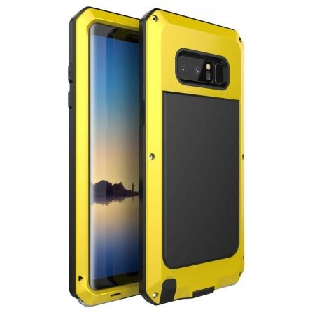Aluminum Metal Shockproof Heavy Duty Cover Case for Samsung Galaxy Note 8 - Yellow