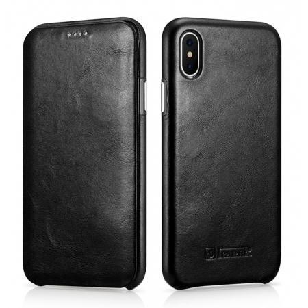 ICARER Curved Edge Vintage Series Genuine Leather Flip Case For iPhone X - Black
