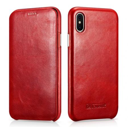 ICARER Curved Edge Vintage Series Genuine Leather Flip Case For iPhone X - Red