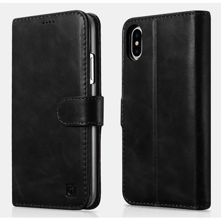 ICARER Genuine Leather Detachable 2 in 1 Wallet FolioCase For iPhone X - Black