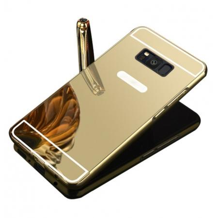 Aluminum Metal Bumper Mirror Back Case Cover for Samsung Galaxy Note 8 - Gold