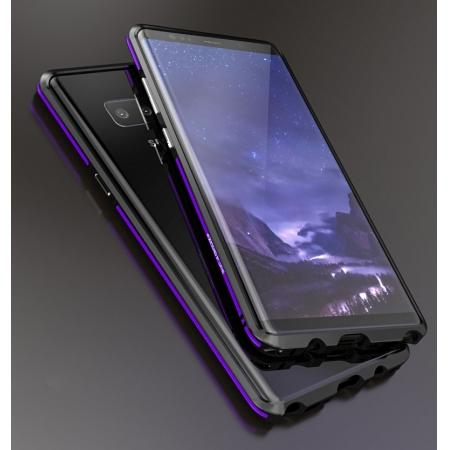 Luxury Slim Dual-Color Aluminum Metal Frame Case for Samsung Galaxy Note 8 - Black&Purple