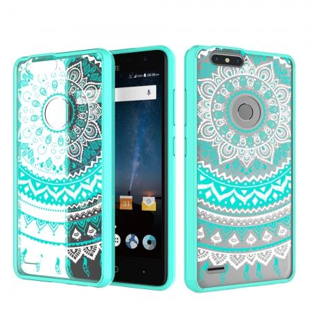 Shockproof TPU Gel Bumper Hybrid Acrylic Back Plate Cover Case for ZTE  Blade Z MAX Z982 - Teal