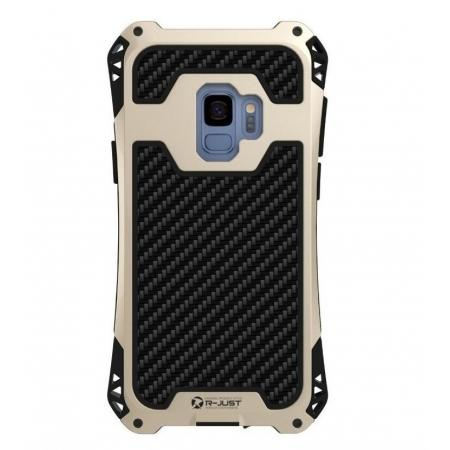 72d59513cee Aluminum Metal Bumper Silicone TPU Rugged Hard Shockproof Carbon Fiber Case for  Samsung Galaxy S9 - Gold