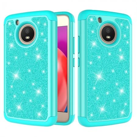 Case For Motorola MOTO E4 Glitter Bling Hard Silicone Hybrid Protective Cover - Teal