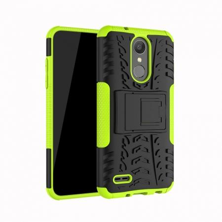 For LG LV3 2018 / LG Aristo 2 Shockproof Hybrid Kickstand Rubber Hard Case Cover - Green