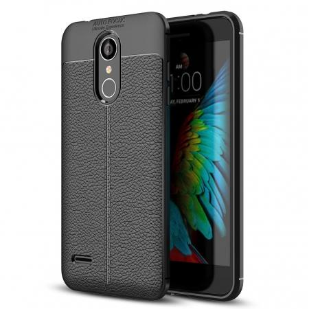 For LG Tribute Dynasty / Aristo 2 / LV3 2018 Shockproof Leather Design Soft TPU Case Cover - Black