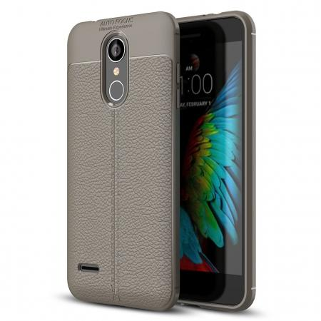 For LG Tribute Dynasty / Aristo 2 / LV3 2018 Shockproof Leather Design Soft TPU Case Cover - Gray