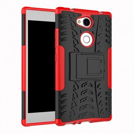 For Sony Xperia L2 Case Hard Protective Kickstand Shockproof Slim Phone Cover - Red