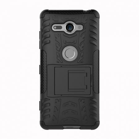 newest b7e82 d44bd For Sony Xperia XZ2 Compact Case Rugged Armor Hybrid Kickstand Phone Cover  - Black