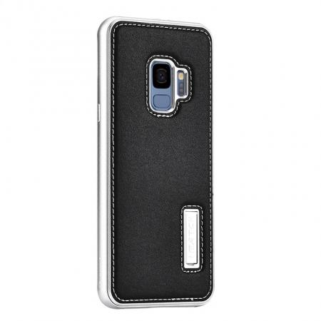 Space Aluminum + Genuine Leather  Case for Samsung Galaxy S9 - Silver&Black