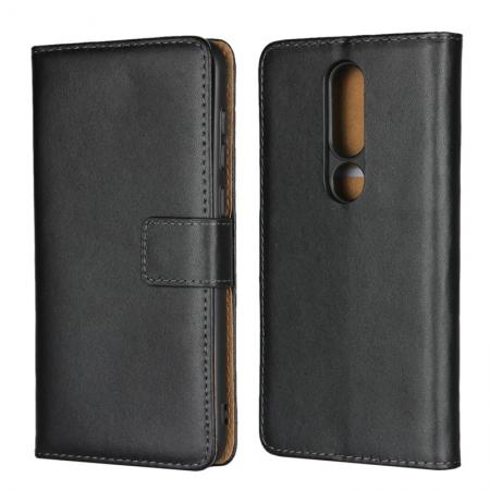 Genuine Leather Stand Wallet Case for Nokia X6 (2018) with Card Slots&holder - Black