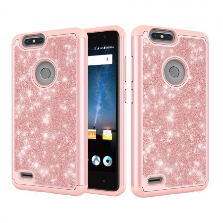 For ZTE Blade Z Max/Sequoia/Zmax Pro 2 Case,Glitter Leather Hybrid Dual  Layer Shockproof Phone Case for ZTE Blade Z Max/Sequoia/Zmax Pro 2 - Rose  Gold