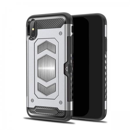 newest 41d57 0e3e7 For iPhone XS Max XR XS Slim Shockproof Magnetic Car Holder Back Cover Case  - Silver