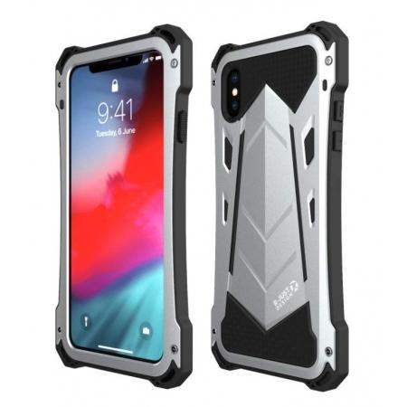half off cc8f8 2dfe8 Shockproof R-JUST Aluminum Metal Armor Bumper Case Cover For iPhone X XR XS  XS Max - Silver