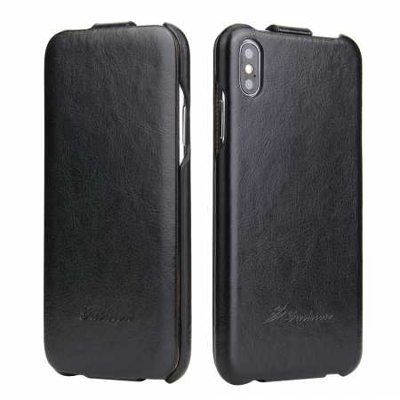 For iPhone XS Max Vertical Flip Leather Case - Black