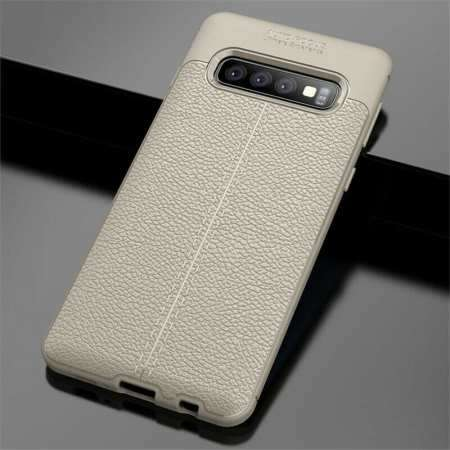 For Samsung Galaxy S10 Plus 9Silicone Rubber Leather TPU Slim Cover Case - Grey