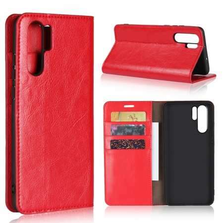 For Huawei P30 Pro Shockproof Flip Card Wallet Leather Case Cover - Red