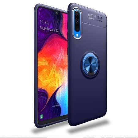 For Samsung Galaxy A50 Shockproof Magnet Ring Holder Stand Case Cover - Navy Blue