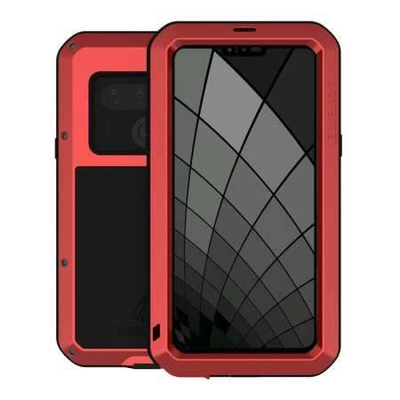 For LG G8S ThinQ Gorilla Glass Aluminum Metal Cover Case - Red