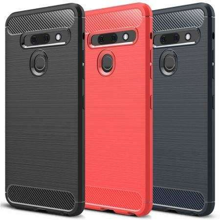 For LG G8S ThinQ Phone Case Shockproof Carbon Fiber Rubber Slim Soft Cover