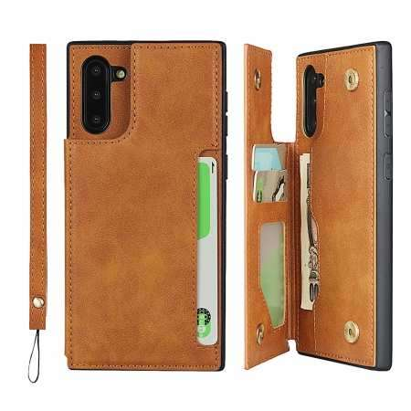 For Samsung Galaxy Note 10 - Leather Wallet Card Holder Back Case Cover - Brown