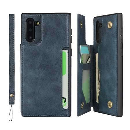 For Samsung Galaxy Note 10 - Leather Wallet Card Holder Back Case Cover - Dark Blue