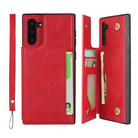 For Samsung Galaxy Note 10 - Leather Wallet Card Holder Back Case Cover - Red